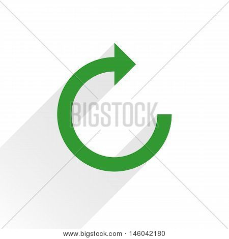 Green arrow icon reload refresh rotation reset repeat sign. Web pictogram with gray long shadow on white background. Simple solid plain flat style. Vector illustration graphic design 8 eps
