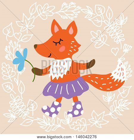 Cute fox on leaves background vector illustration