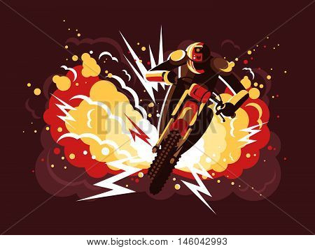Stuntman on motorcycle in helmet on background fire after explosion. Vector illustration