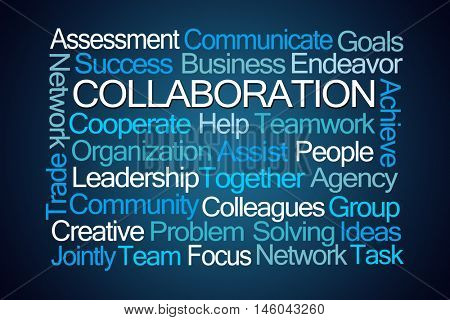 Collaboration Word Cloud on Blue Background