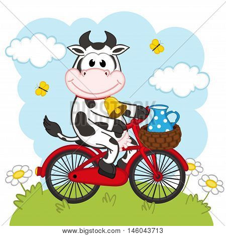 cow riding a bicycle with milk - vector illustration, eps