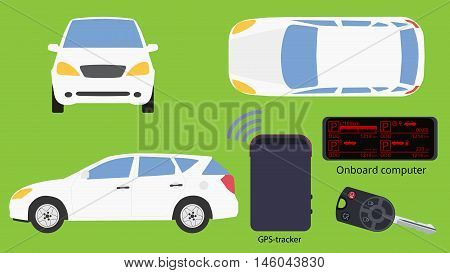 Car accessories and views vector isolated image