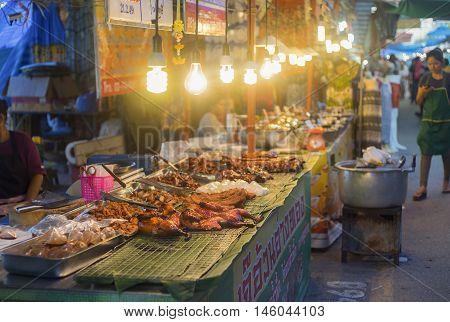 Prachuapkhirikhan province Thailand -July 27 2016: traditional food shop at thai market walking street at Prachuapkhirikhan Province Thailand ,selective focus