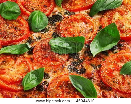 Margharita Pizza - with fresh tomatos mozzarella and basil close up