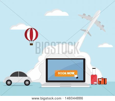 booking online for ticket airplane car rental hotel travel vector illustration