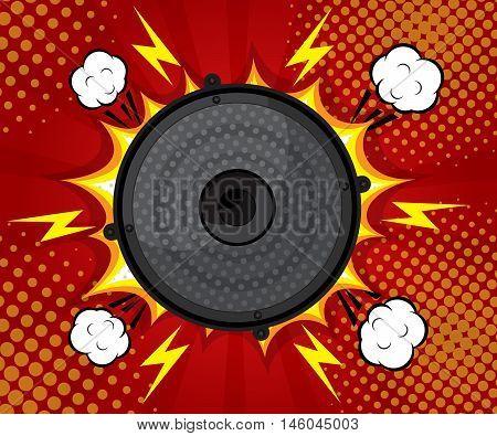 abstract speaker loud pop art comic book flat design background