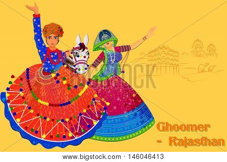 Vector design of Couple performing Kachhi ghodi folk dance of Rajasthan, India
