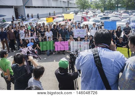 Bangkok Thailand : August 31 2016 - journalist make a news with ford's car user in thailand get a flash mob at Nang Leang Racecourse to call for justice about gear problem in ford fiesta car,Deception customer of by ford thailand company Bangkok Thailand