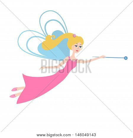 Fairy with a magic wand flying. Cartoon Fairy  isolated on white background.