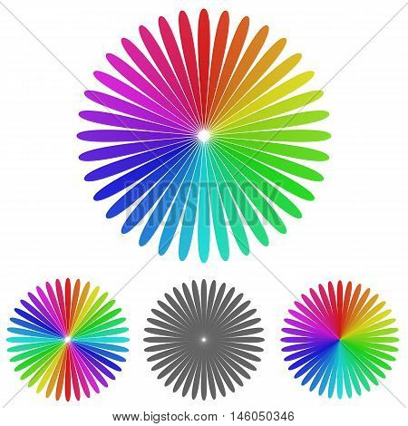 Rainbow flower logo vector. Flower icon symbol design template set for floral, ecology, garden, nature concepts.