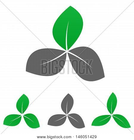 Green garden logo vector. Garden  icon symbol design template set for leaf, organic, nature, life, enviroment concepts.