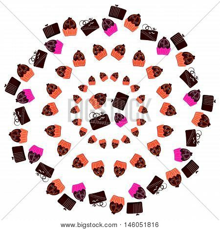 Chocolates and truffles. Vector illustration of confectionery