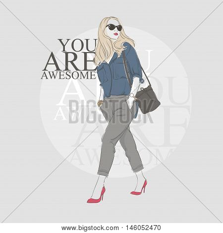 Beautiful Hipster Young Woman In A Blue Blouse And Glasses With Bag On High Heels. Hand Drawn Illust
