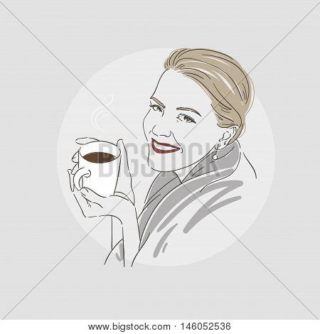Beautiful Women Drinking Coffee - Vector Illustration.