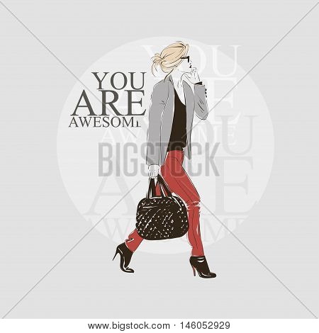 Beautiful Hipster Young Woman In A Black Blouse, Gray Jacket And Glasses With Bag On High Heels. Han