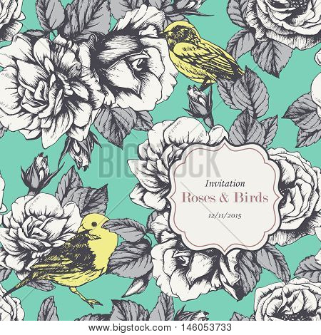 Floral vintage invitation with hand-drawn garden roses and birds. Seamless pattern