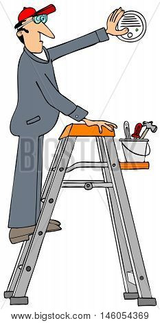 Illustration of a worker wearing coveralls on a stepladder installing a wall mounted smoke detector.
