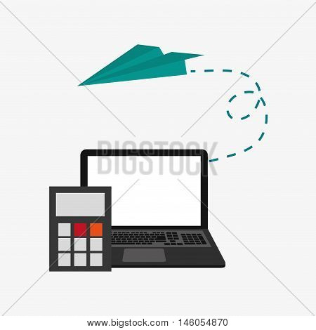 flat design laptop with calculator and paper airplane   telecommunication related icons vector illustraiton