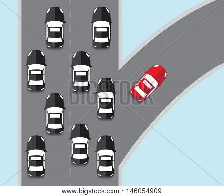 think different concept red car going to different direction vector illustration