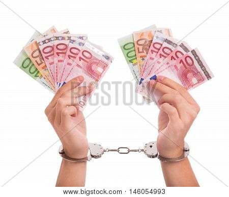Prisoner with handcuffs and money in his hands