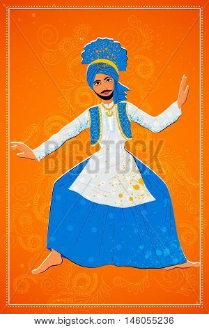 Vector design of man performing Bhangra folk dance of Punjab, India