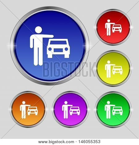 Person Up Hailing A Taxi Icon Sign. Round Symbol On Bright Colourful Buttons. Vector