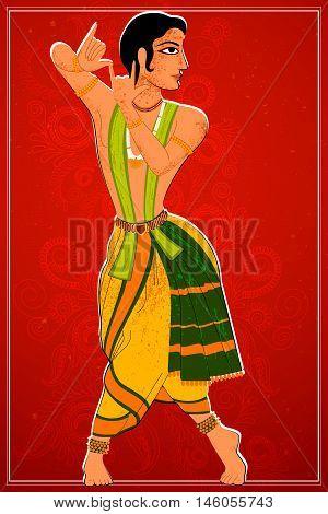 Vector design of man performing Bharatanatyam classical dance of Tamil Nadu, India