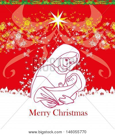 Madonna and child Jesus - Christmas card , vector illustration