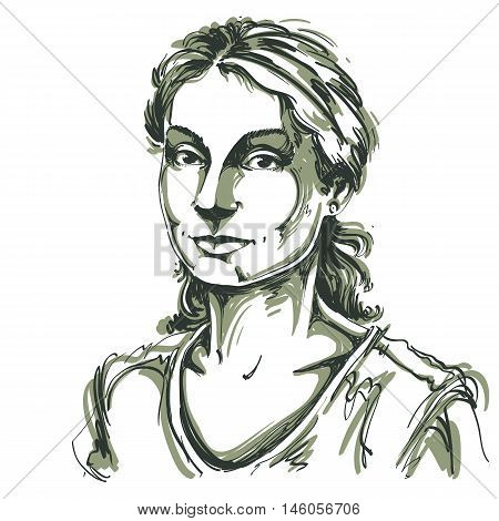 Hand-drawn vector illustration of beautiful kind woman. Monochrome image expressions on face of young lady. Adult person posing.