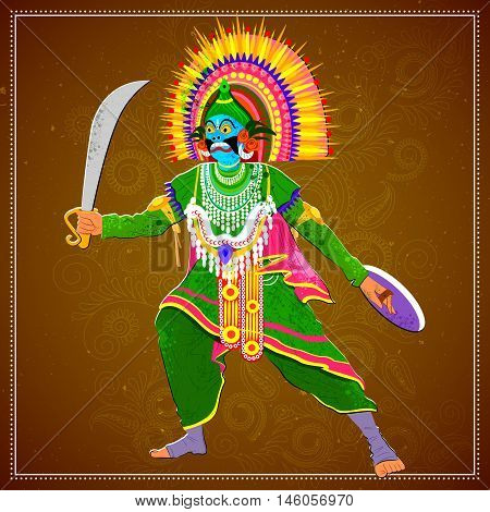 Vector design of man performing Chhau folk dance of Jharkhand, India