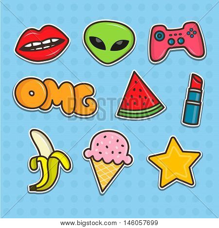 Set of cartoon teenager stickers. Flat line illustrations. Patches collection
