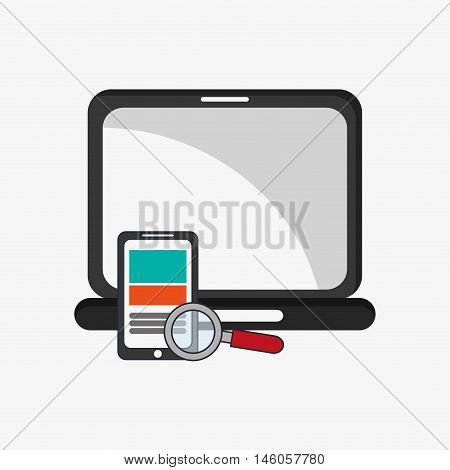 flat design laptop with magnifying glass and cellphone telecommunication related icons vector illustraiton