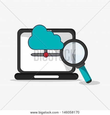 flat design laptop with magnifying glass and cloud storage telecommunication related icons vector illustraiton