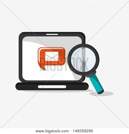 flat design laptop with magnifying glass and envelope message on screen telecommunication related icons vector illustraiton