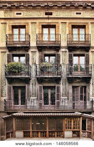 Typical Art Nouveau building in Barcelona Spain
