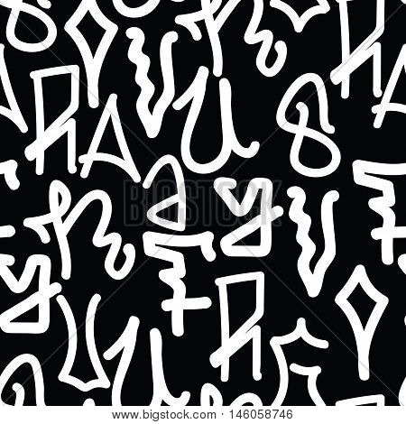 Graffiti background seamless pattern. Vector Tags, writing. Graffiti hand style, old school. Monochrome black and white colors