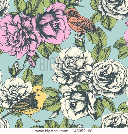 Seamless floral pattern with colorful hand-drawn flowers and  birds. Vector