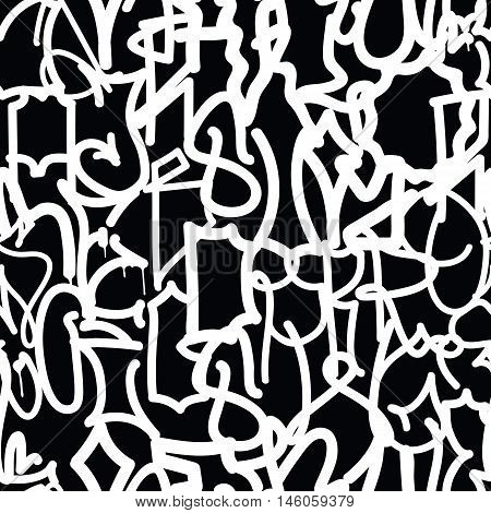 Graffiti background seamless pattern. Vector Tags, writing. Graffiti hand style, old school. Street art texture. Monochrome black and white colors