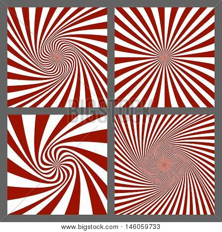 Maroon and white spiral and starburst background set