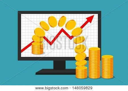 Monitor with graph of income growth. Gold coins are moving from virtual environment to reality. Virtual earnings and real money. Successful business in web sector.