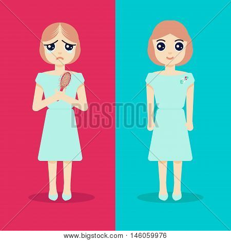 Unhappy woman with alopecia becomes happy after hair regeneration. Before and after hair treatment and hair transplantation. Perfect for hair clinics and diagnostic centers. Vector illustration.