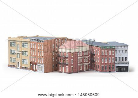 Old town buildings isolted on white background. 3d irendering
