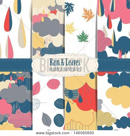 Set of seamless patterns with clouds and rain. Rain season vector illustrations.