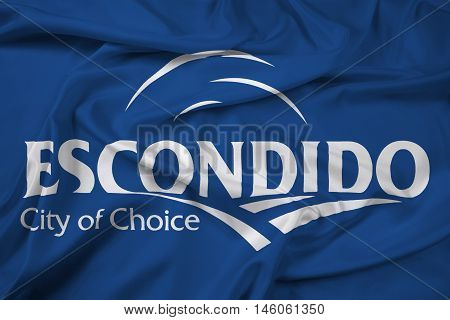 Waving Flag of Escondido California USA, with beautiful satin background. 3D illustration