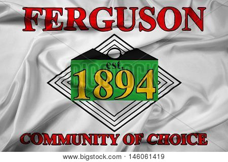 Waving Flag of Ferguson Missouri USA, with beautiful satin background. 3D illustration