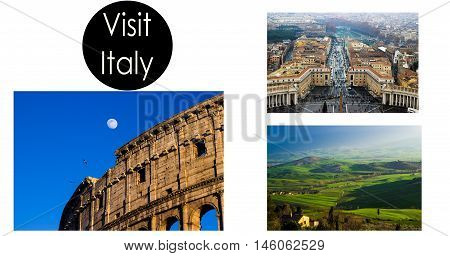 Collage with photos visit Italy,Toscana , Rome, Colloseum