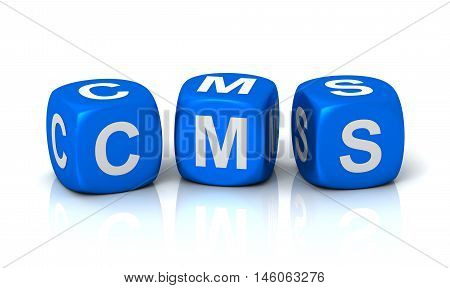 cms cubes 3d illustration isolated on white background