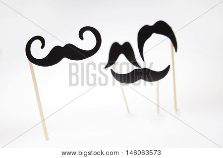 Cardboard Moustaches On A White Background