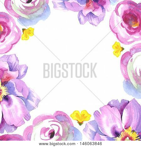 Peony flower necklace in watercolor. Could be used for: background, poster, print, romantic invitation, decoration, similars or pattern.