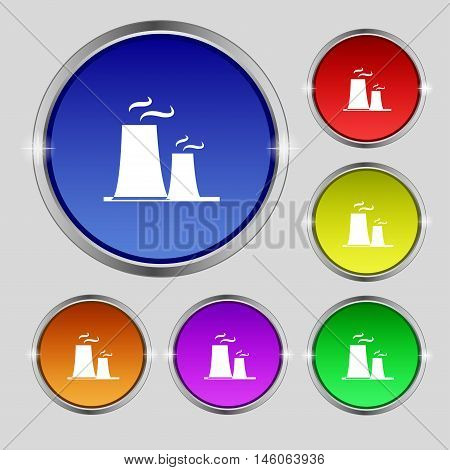 Atomic Power Station Icon Sign. Round Symbol On Bright Colourful Buttons. Vector